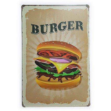 Placa de Metal Burger - 30 x 20 cm