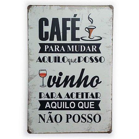 Placa de Metal Café e Vinho - 30 x 20 cm