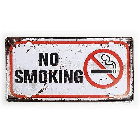 Placa de Metal Decorativa Proibido Fumar No Smoking - 30 x 15 cm