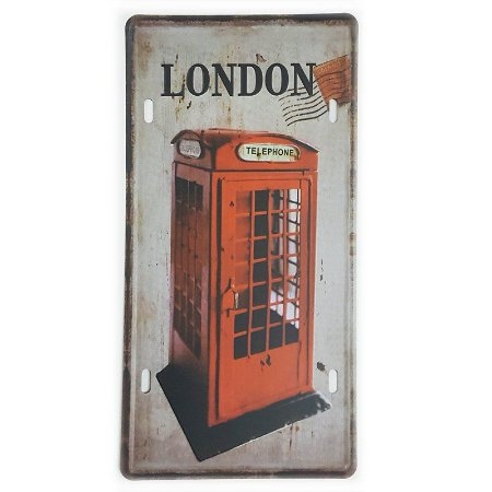 Placa de Metal Decorativa London Telephone