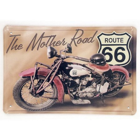Placa em metal decorativa Route 66 The mother road Motorcycle