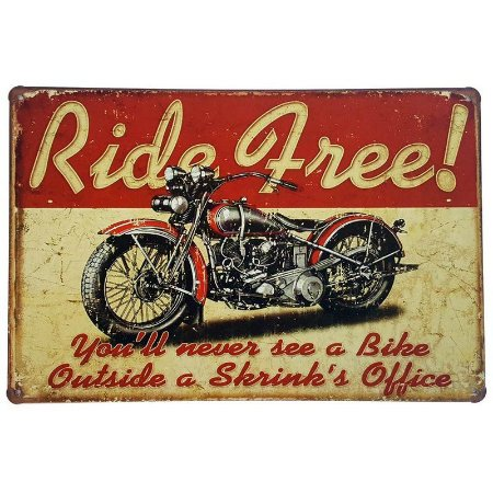 Placa de Metal Decorativa Ride Free - 30 x 20 cm