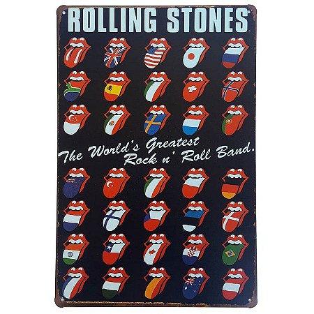 Placa de Metal Decorativa Rolling Stones - 30 x 20 cm
