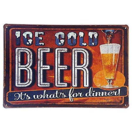 Placa de metal decorativa Retrô Ice Cold Beer Dinner