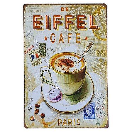 Placa de metal decorativa Retrô De Eiffel Cafe Paris