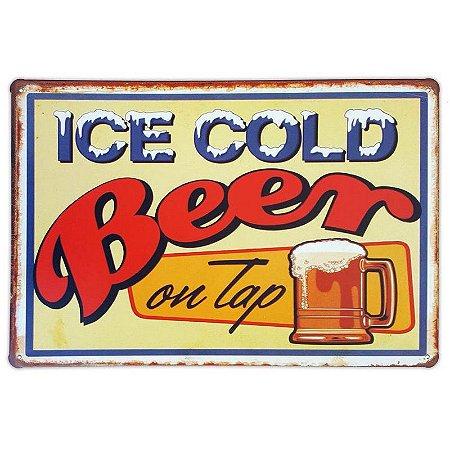 Placa de metal decorativa Retrô Ice Cold Beer on Tap