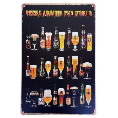 Placa de metal decorativa Retrô Beers Around the World