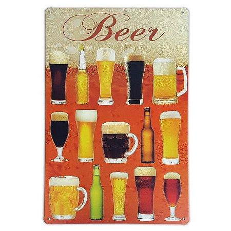 Placa de metal decorativa Retrô Beer