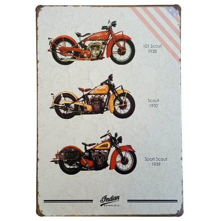 Placa de Metal Decorativa Indian Motorcycle Scout - 30 x 20 cm