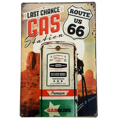 Placa de Metal Decorativa Last Chance Gas Station - 30 x 20 cm