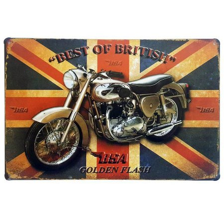 Placa de Metal Decorativa Golden Flash - 30 x 20 cm