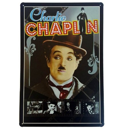 Placa de Metal Decorativa Charlie Chaplin Color - 30 x 20 cm