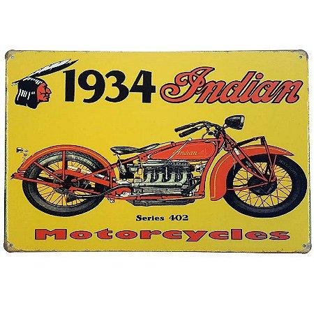 Placa de Metal Decorativa 1934 Indian - 30 x 20 cm