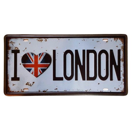 Placa de Metal Decorativa I Love London - 30,5 x 15,5 cm