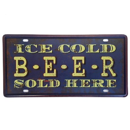 Placa de Metal Decorativa Ice Cold Beer - 30,5 x 15,5 cm