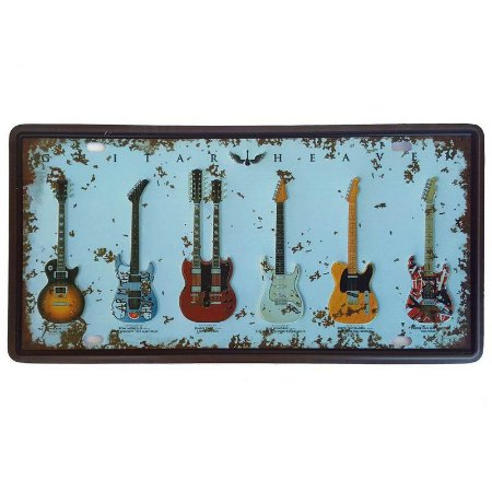 Placa de Metal Decorativa Guitar Heaven - 30,5 x 15,5 cm
