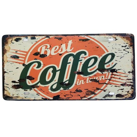 Placa de Metal Decorativa Best Coffee in Town - 30,5 x 15,5 cm
