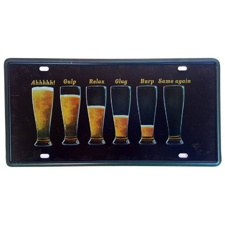 Placa de Metal Decorativa Cerveja - 30,5 x 15,5 cm