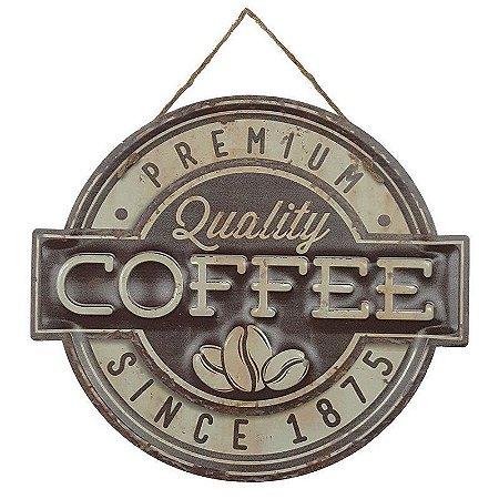 Placa de Metal Alto Relevo Coffee Premium Quality Since 1875