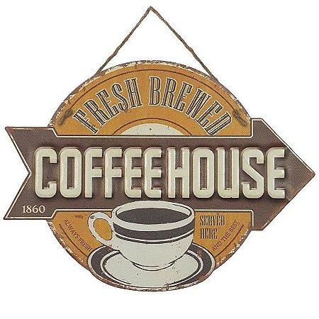 Placa de Metal Alto Relevo Coffee House 1860