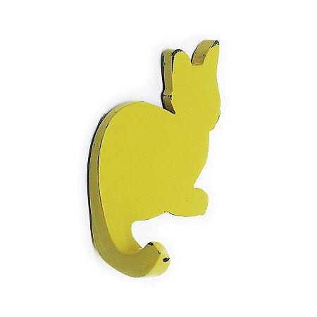Cabideiro Porta Chaves Rústico Gatinho - amarelo