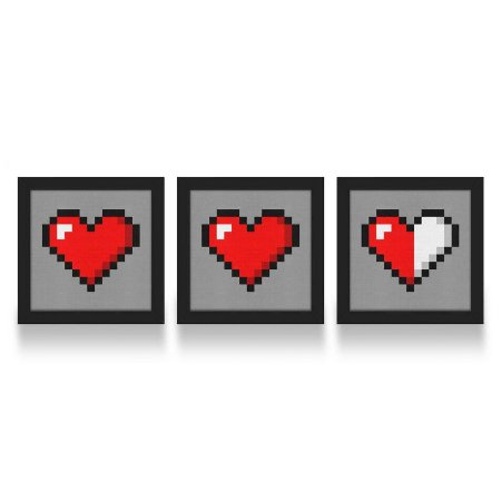 Set de Quadros Coração Pixel 8 bits