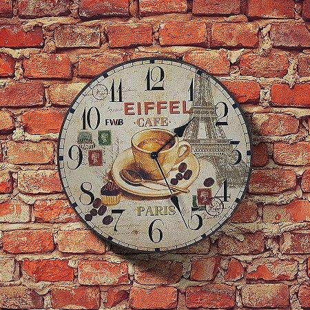 Relógio de parede Retrô Eiffel Café