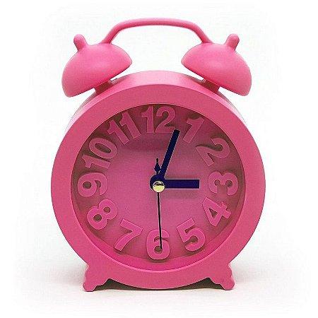 Relógio de mesa redondo com despertador - rosa