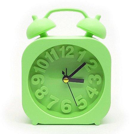 Relógio de mesa com despertador - verde