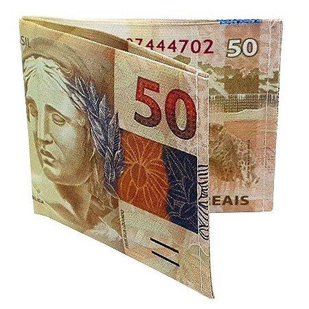 Carteira Slim Dinheiro Nota de 50 Reais
