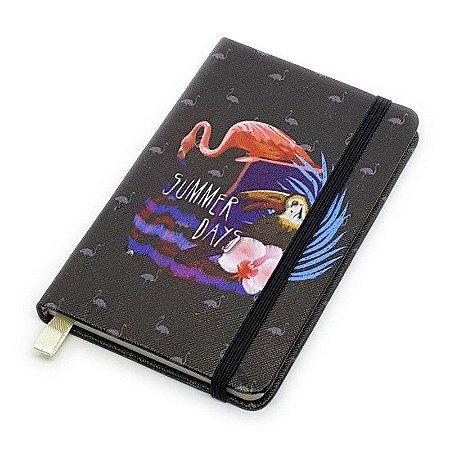 Caderneta de Anotação Flamingo Summer - preto