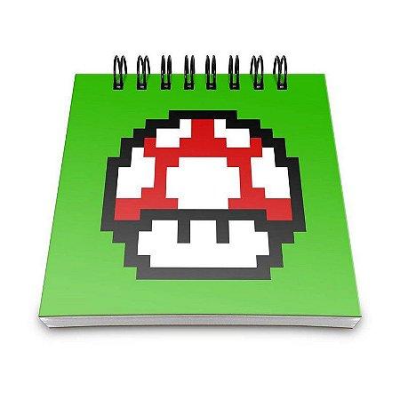 Bloco de Anotações Cogumelo Pixel Grow Up