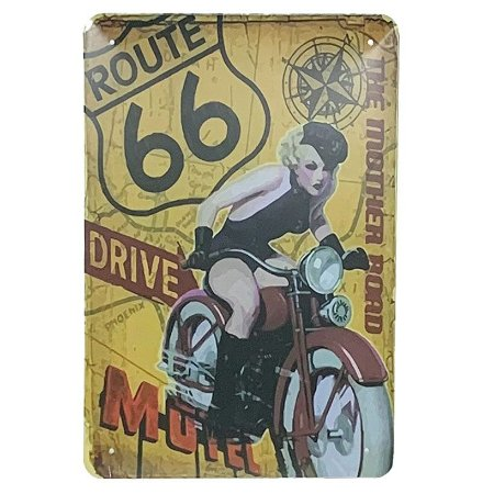 Placa de Metal Route 66 The mother road