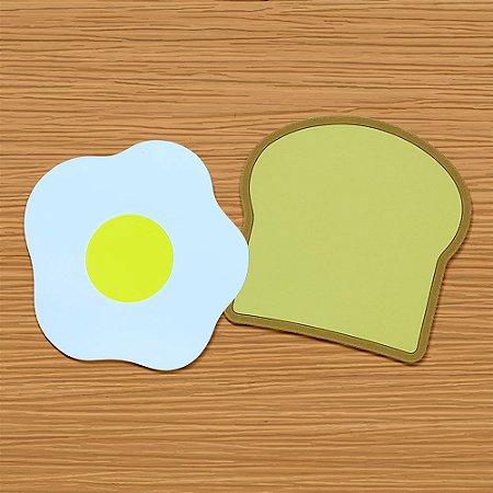 Porta Copos em silicone Café da Manhã pão e ovo