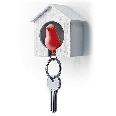 Porta Chaves e Chaveiro Passarinho Sparrow Key Ring - vermelho