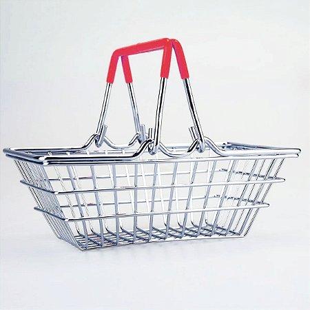 Porta Trecos Mini Cesta de Compras - vermelho
