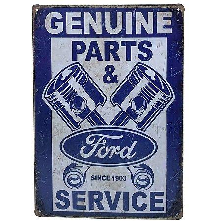 Placa de Metal Ford Genuine Parts and Service - 30 x 20 cm