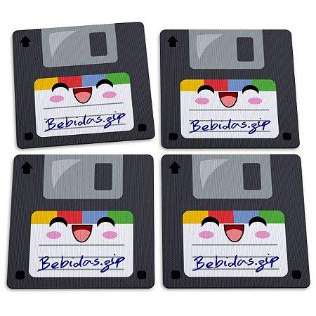 Jogo de Porta Copos Floppy Disk Disquetes Bebidas - 4 peças zip