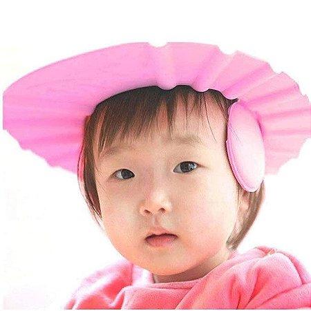 Chapéu de banho para bebês Protege olhos e ouvidos - rosa