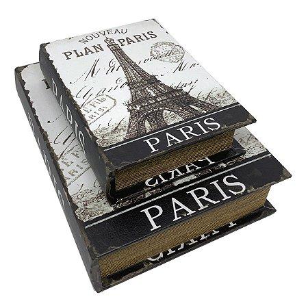 Kit Caixa Livro Decorativa Torre Eiffel Nouveau Plan Paris - 2 peças