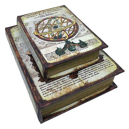 Kit Caixa Livro Decorativa Globo Antigo Retrô - 2 peças