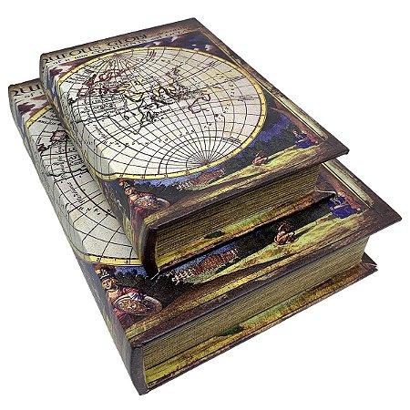 Kit Caixa Livro Decorativa Mapa Mundi Retrô - 2 peças