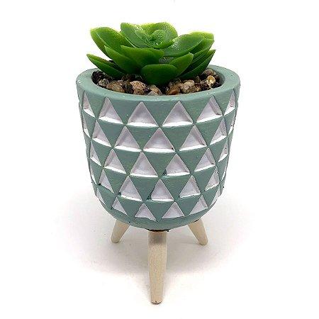 Vasinho Decorativo Triângulos planta suculenta artificial - verde