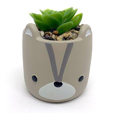 Vasinho Decorativo Guaxinim planta suculenta artificial