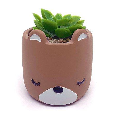 Vasinho Decorativo Urso planta suculenta artificial