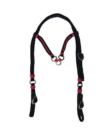 Cabeçada de cordinha preta e vermelha