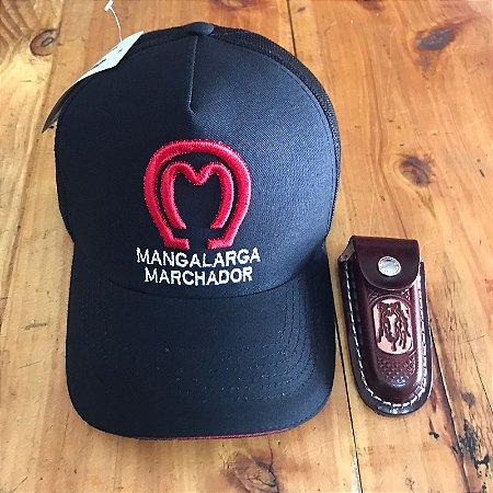 Boné Mangalarga preto + bainha de canivete de couro