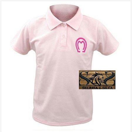 Camisa Polo Mangalarga Feminina Rosa