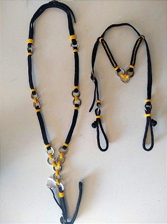 Conjunto Peitoral e Cabeçada Cordinha Preto e Amarelo