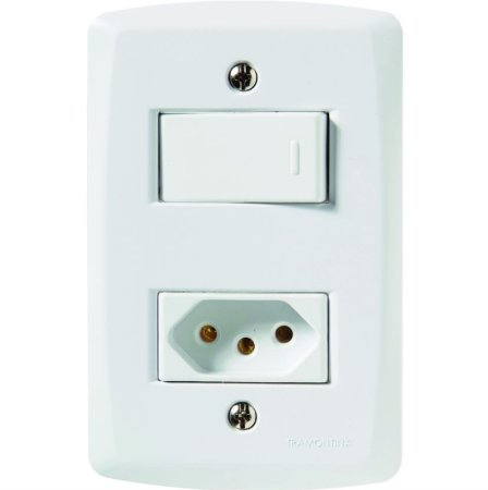 Conjunto 4X2 - 1 interruptor simples 10A 250V + 1 tomada 2P+T 10A 250V Tramontina